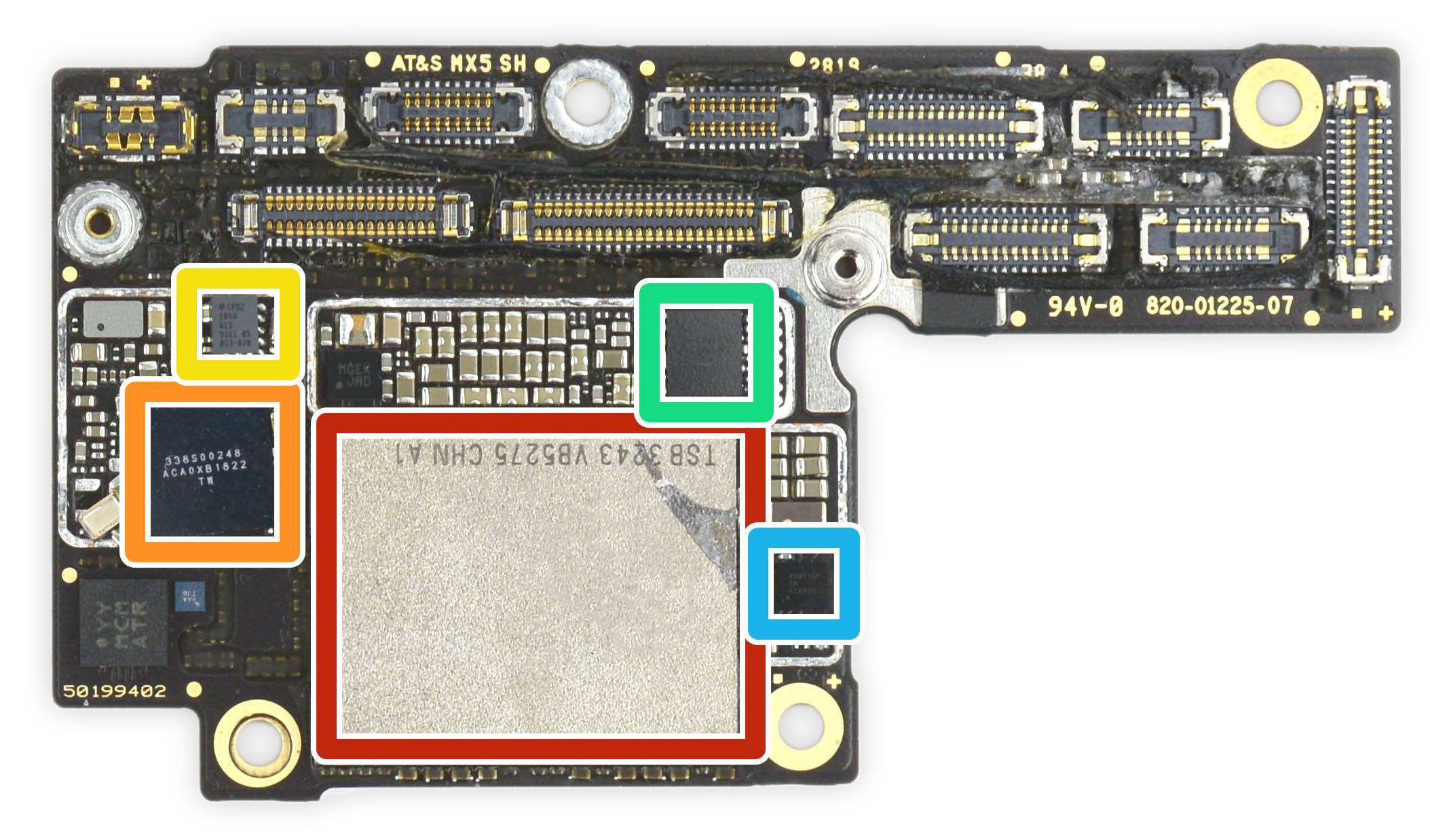 An image from iFixit showing an iPhone XS motherboard with the Toshiba-made flash chip highlighted in red