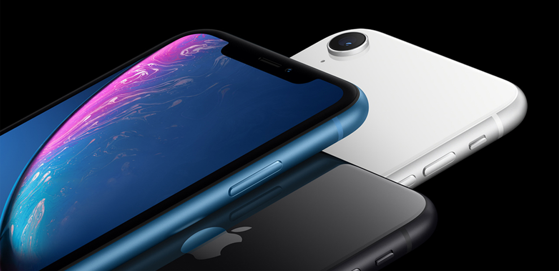 iPhone XR in blue white and black