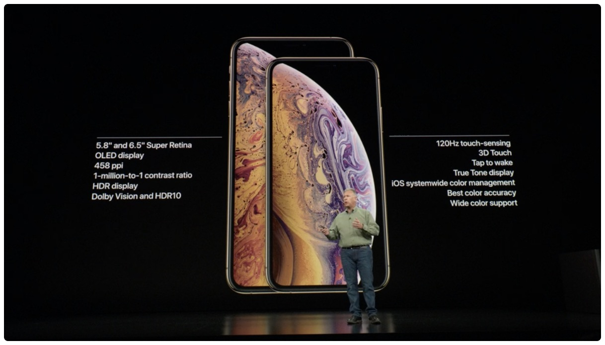 iPhone XS and iPhone XS Max display stats shown on the slide used in Apple's September 2018 press conference