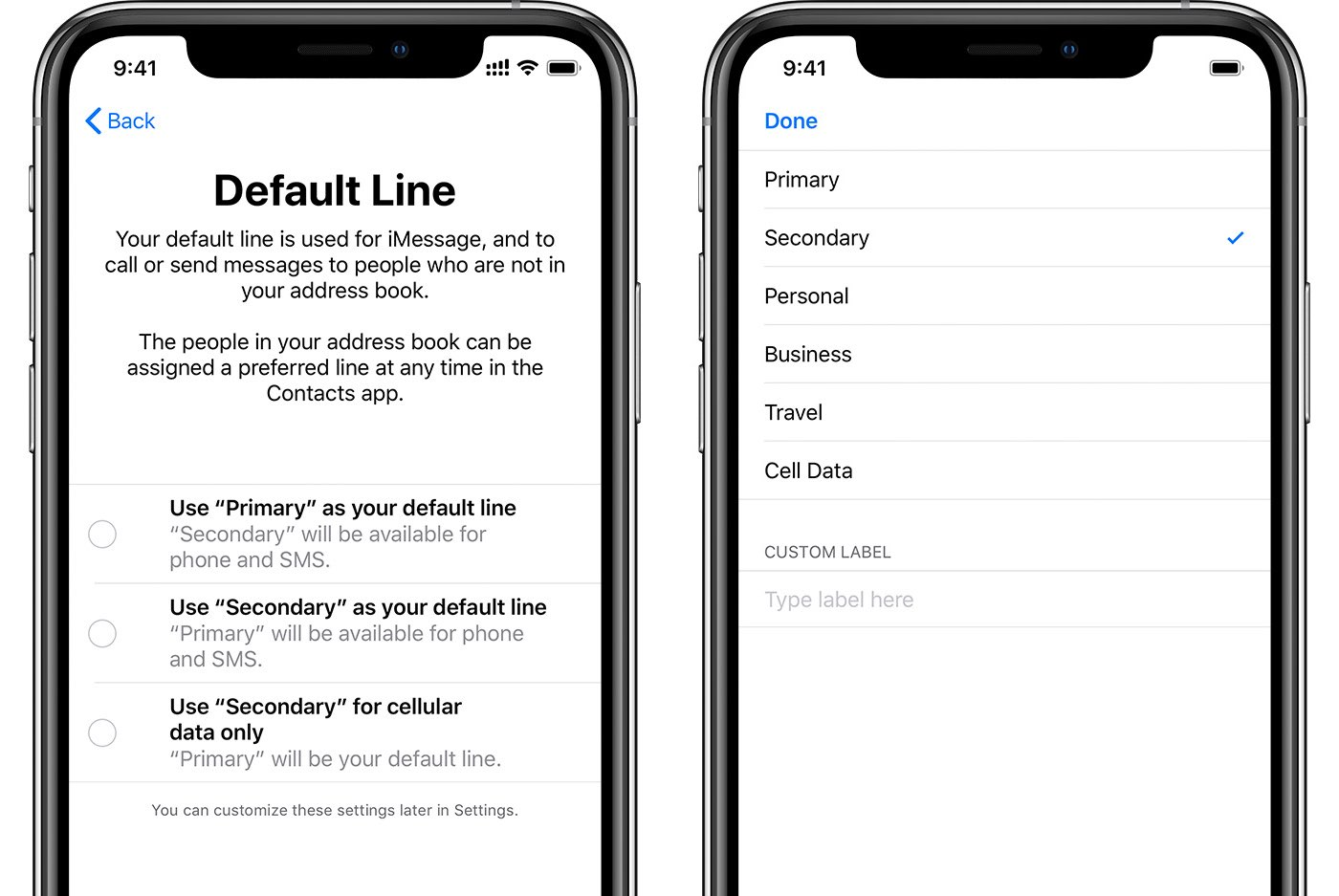 iPhone dual SIM support includes setting one line as your primary line