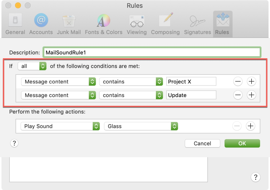 Additional Conditions Mail App Mac