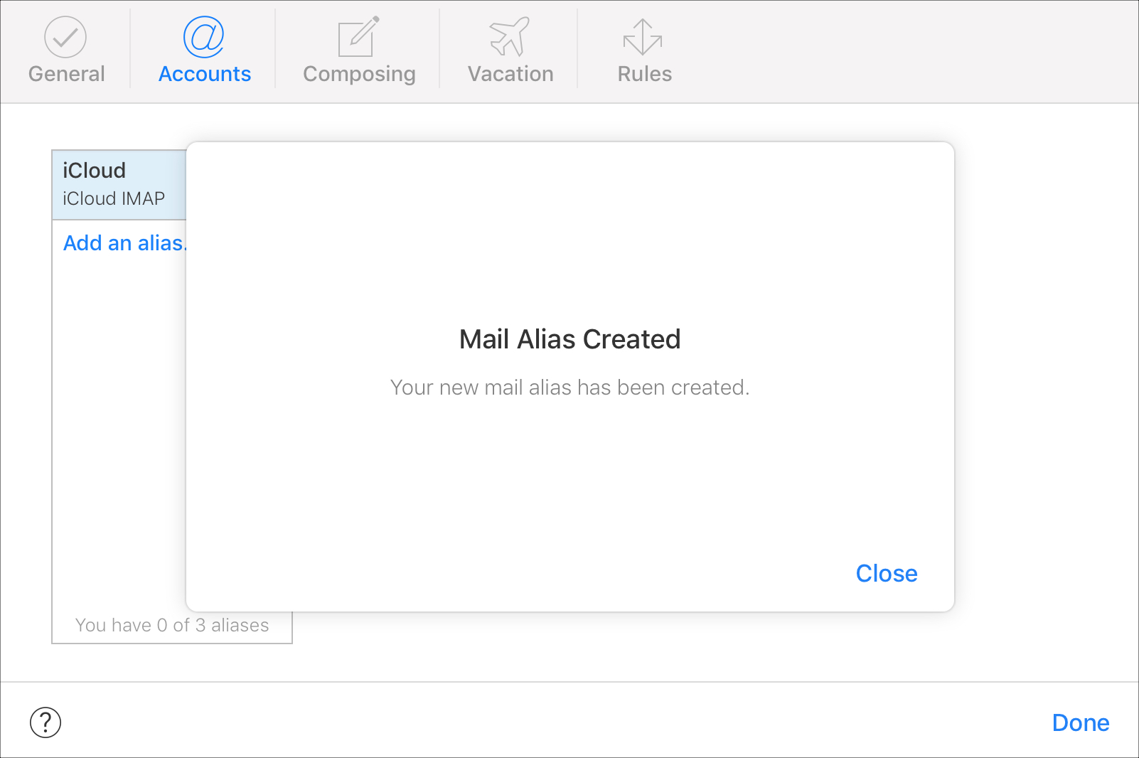 Alias Created iCloud