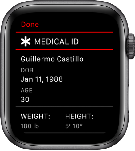 Apple Watch fall detection - the Medical ID screen on Series 4 watch