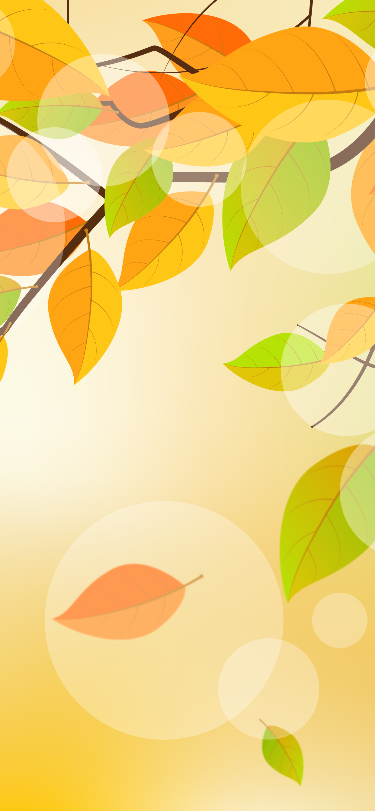 Autumn leaves falling from tree wallpaper