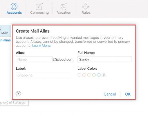 Create Alias iCloud