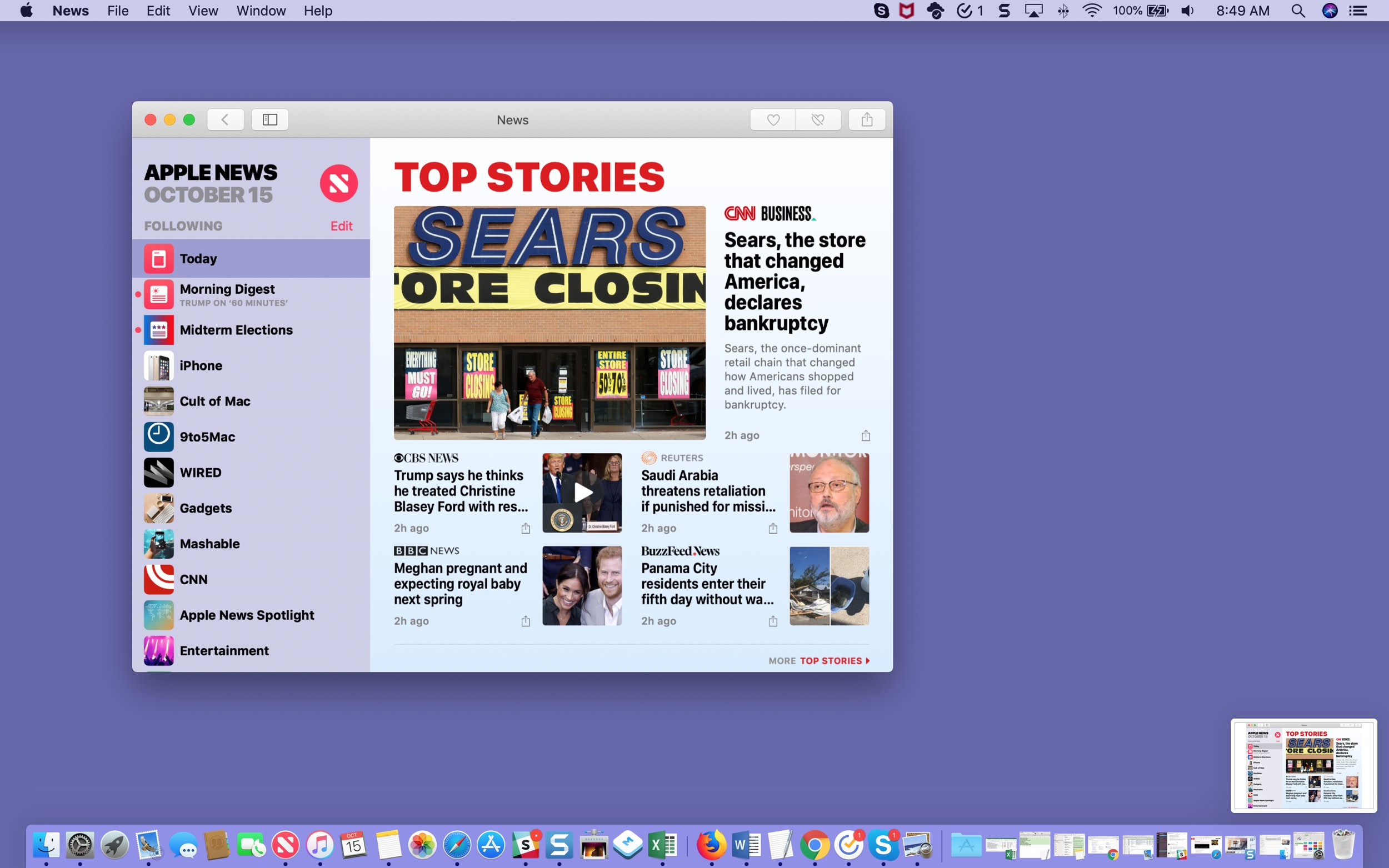 Floating Thumbnail Preview on Mac Screen