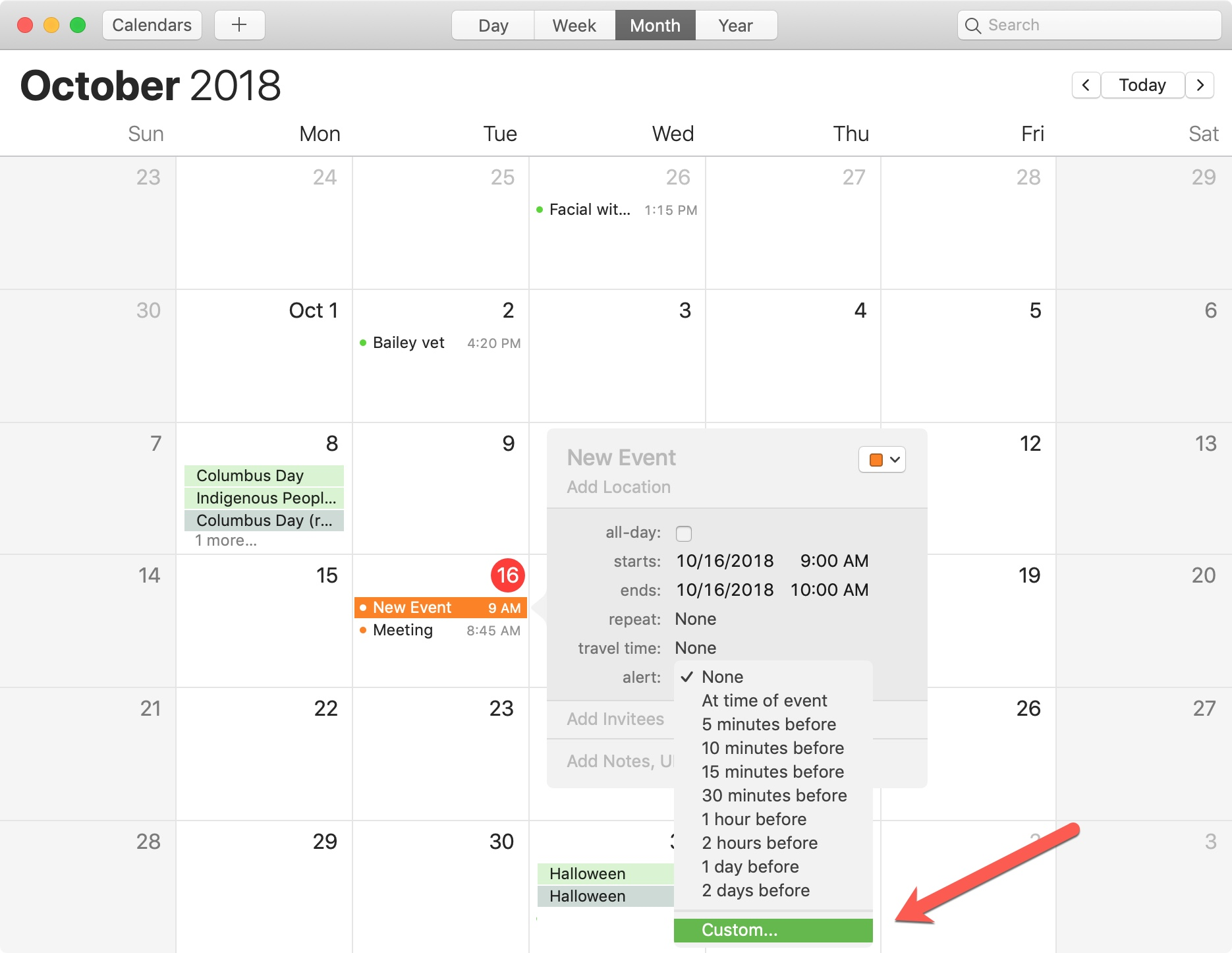 Mac Calendar New Event For File Alert Custom