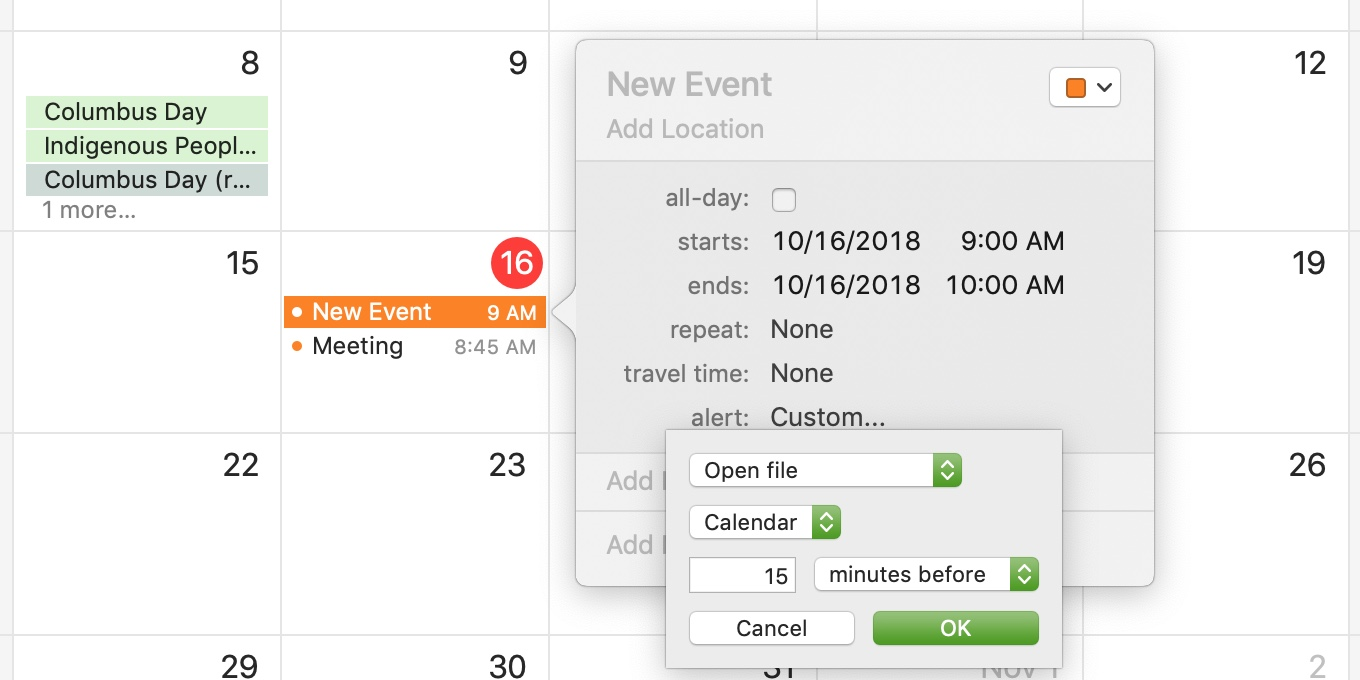 Mac Calendar New Event For File Alert Set
