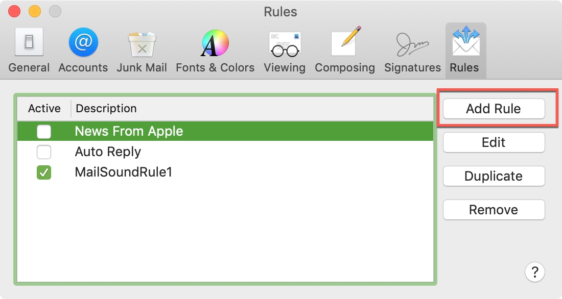 Mail App Mac Add Rule to Play Sound