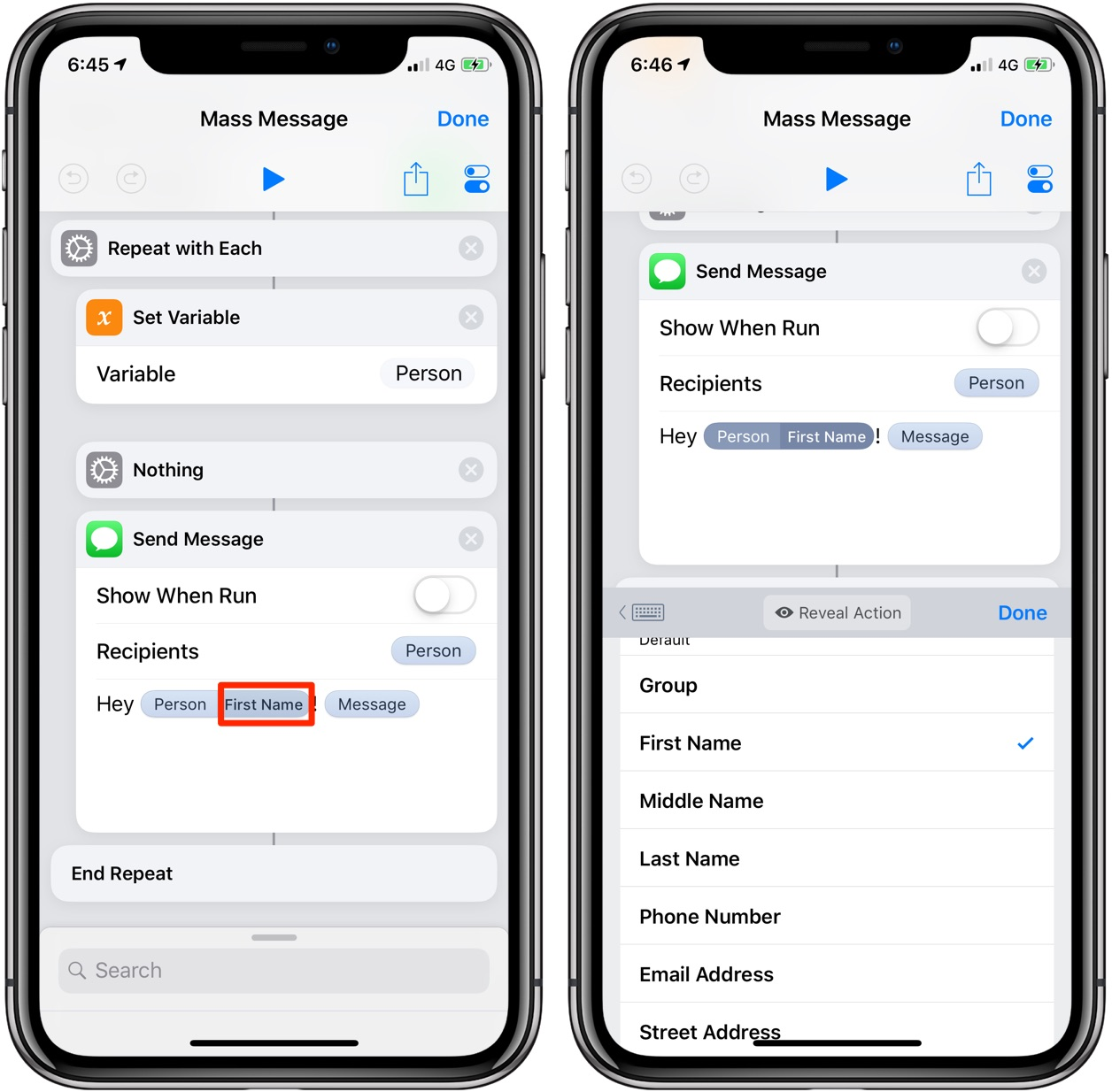 The Mass Message shortcut requires iOS 12 and Apple's Shortcuts app