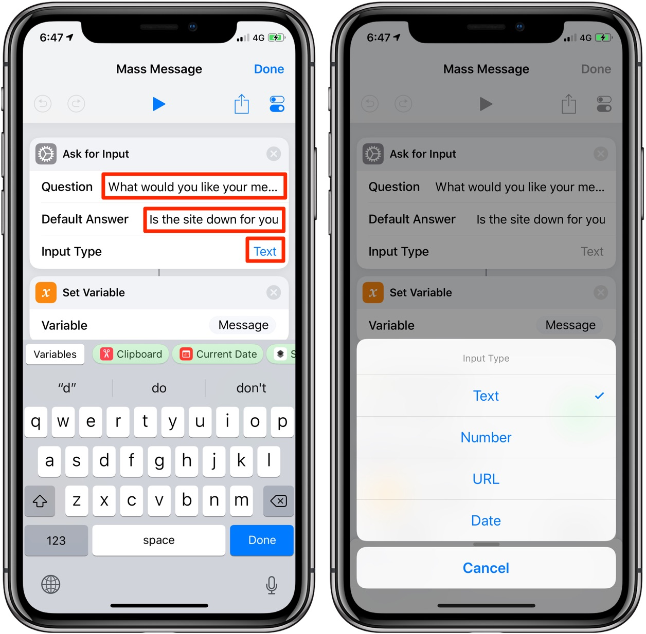 Text multiple people without sending a message to group chat with the Mass Message shortcut
