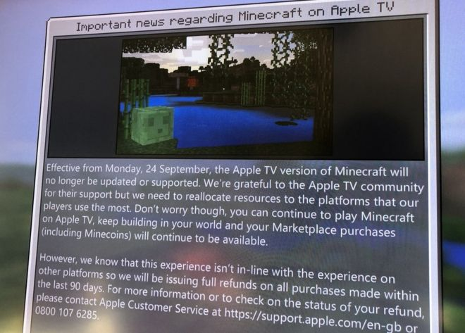 Minecraft Apple TV - a message informing players of support ending on September 24, 2018