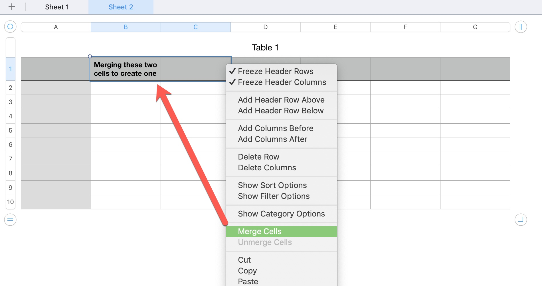 Numbers Merge Cells from Context Menu