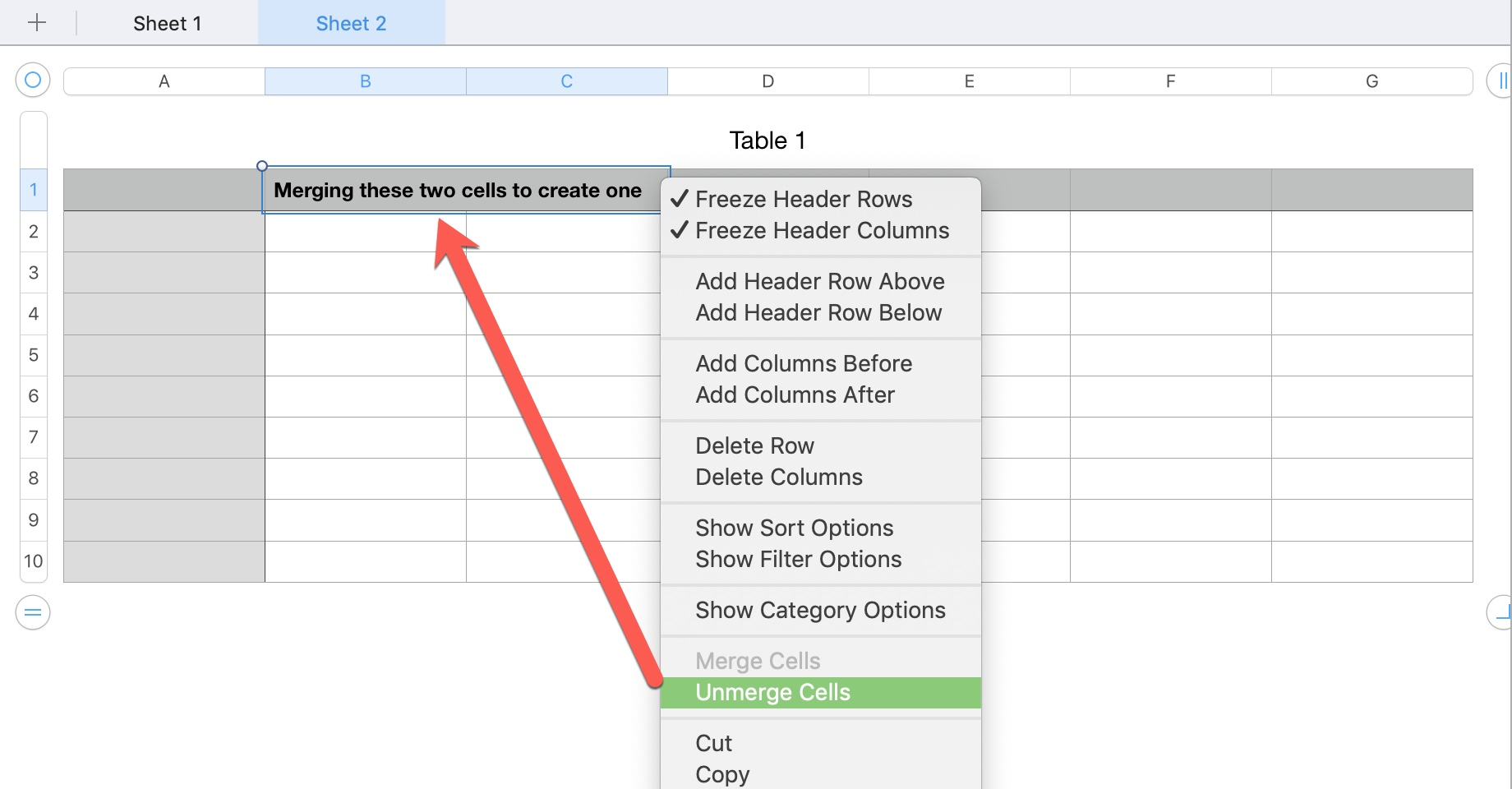 Numbers Unmerge Cells from Context Menu
