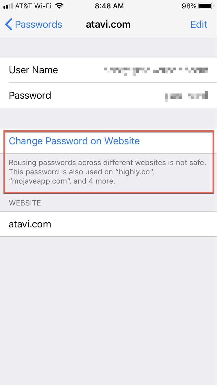Password Auditing on iPhone Reuse Message