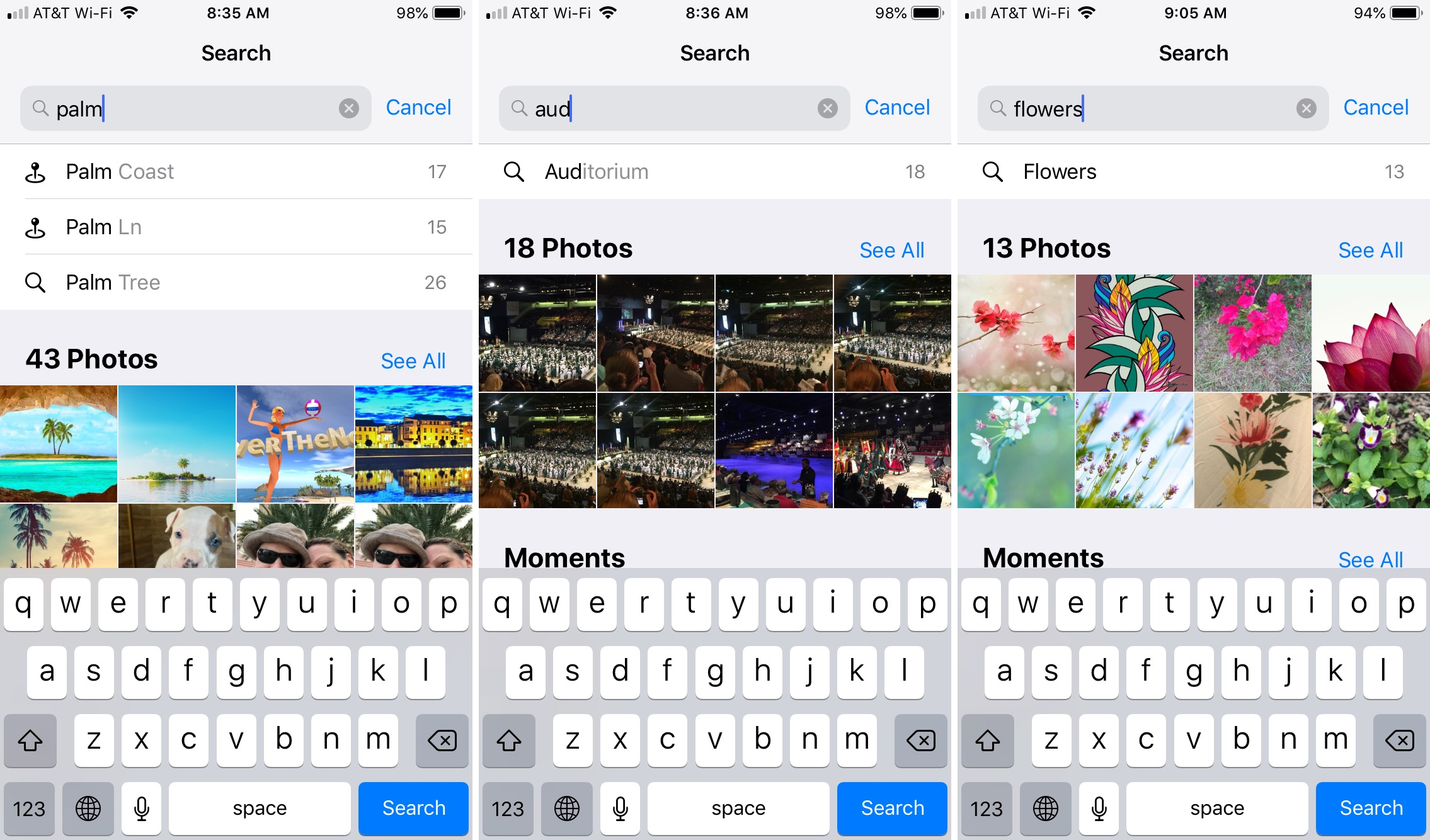 Photos App People Place Event Search