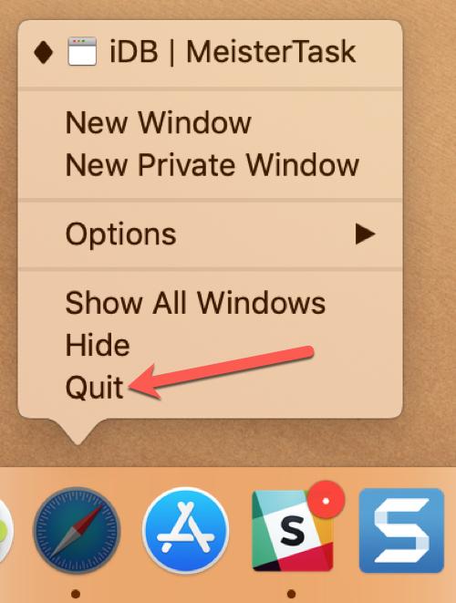 Quit Safari from Context Menu