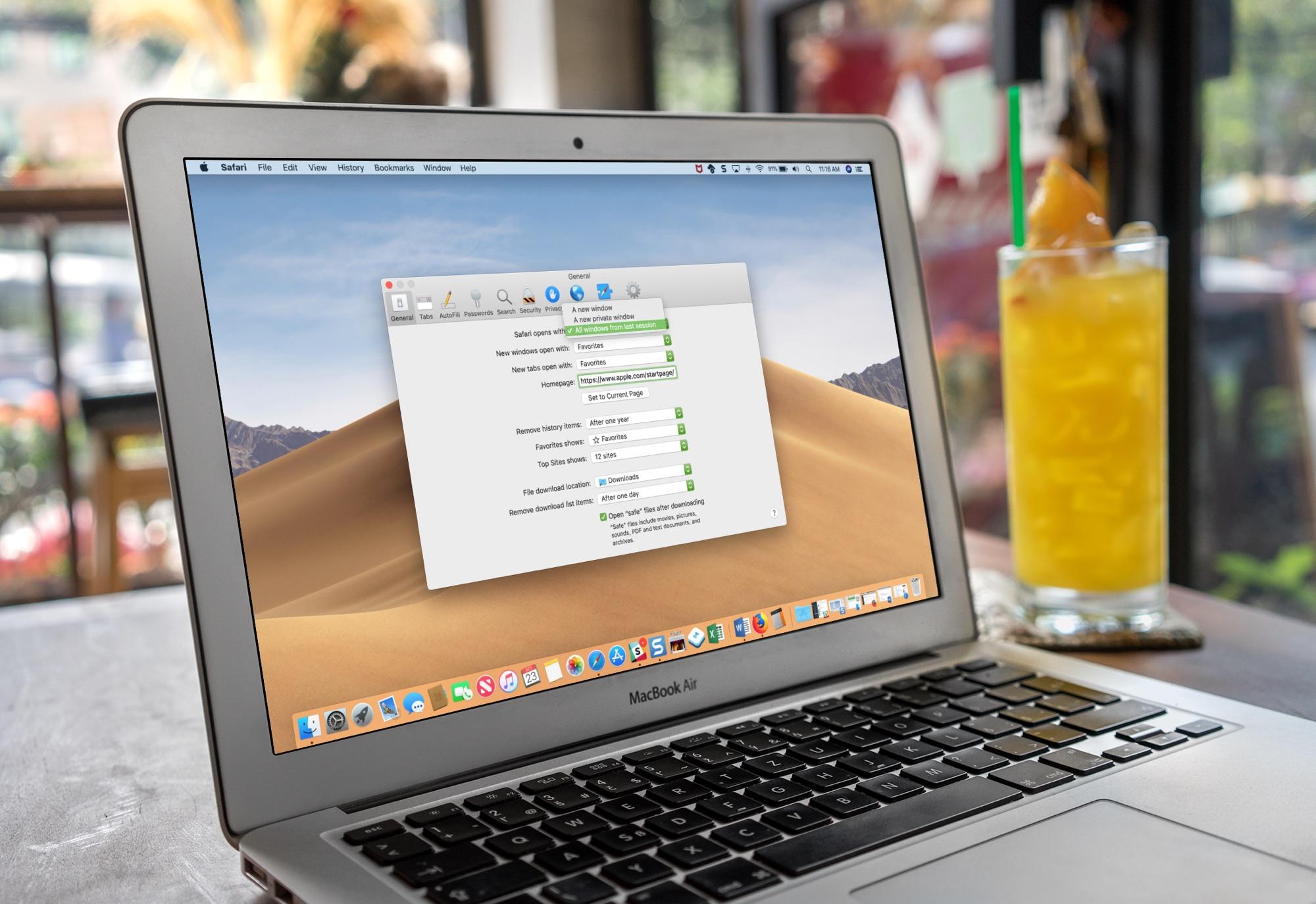 Safari Settings on Macbook
