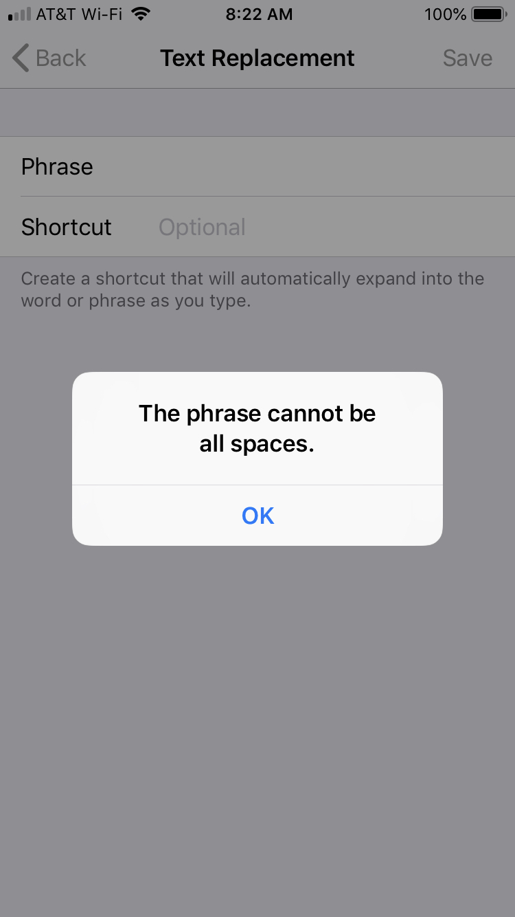 Shortcut Phrase Error iPhone
