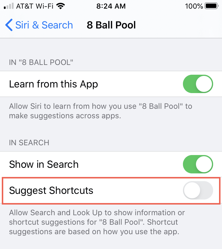Suggest Shortcuts on iPhone Disabled