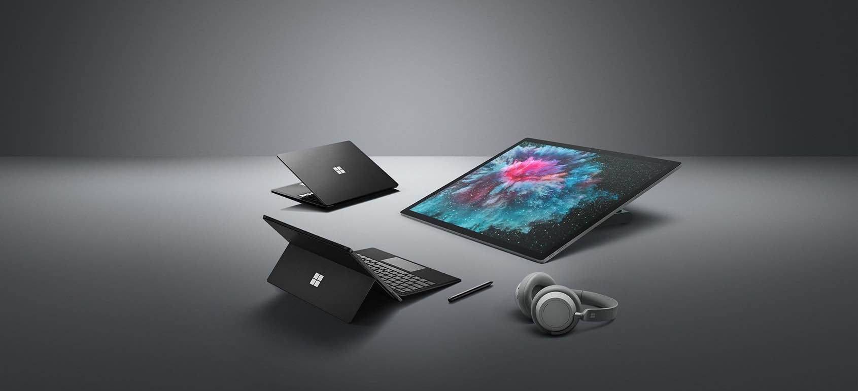 An image showing a family of new or updated Surface products for 2018