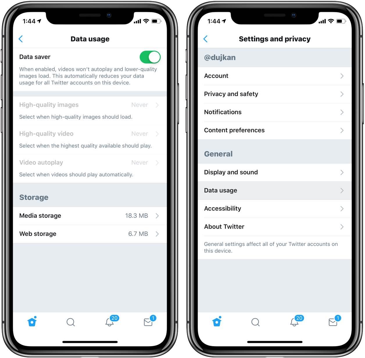 Twitter Data Saver settings on iPhone