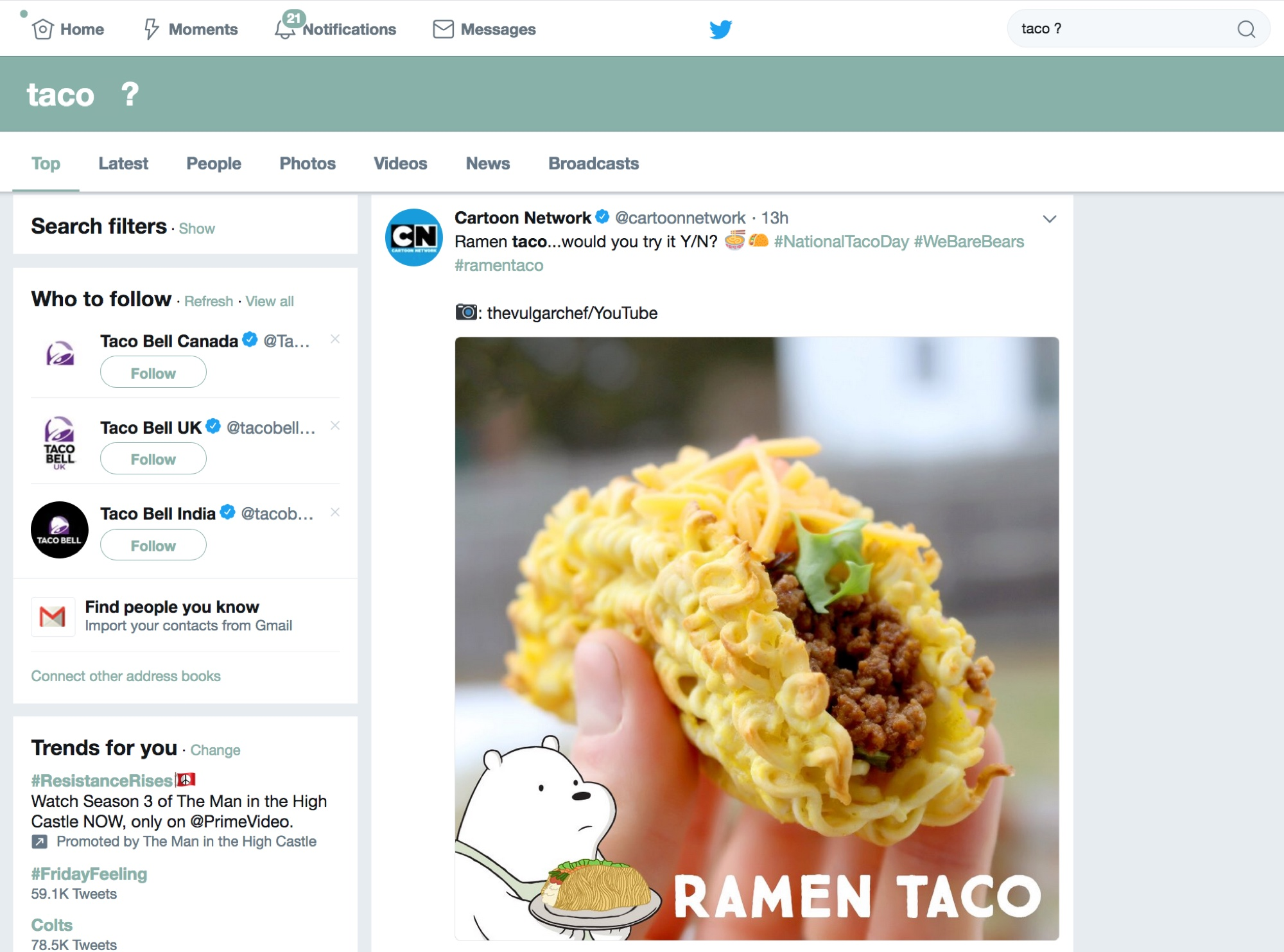 Twitter Taco Question Filter Search