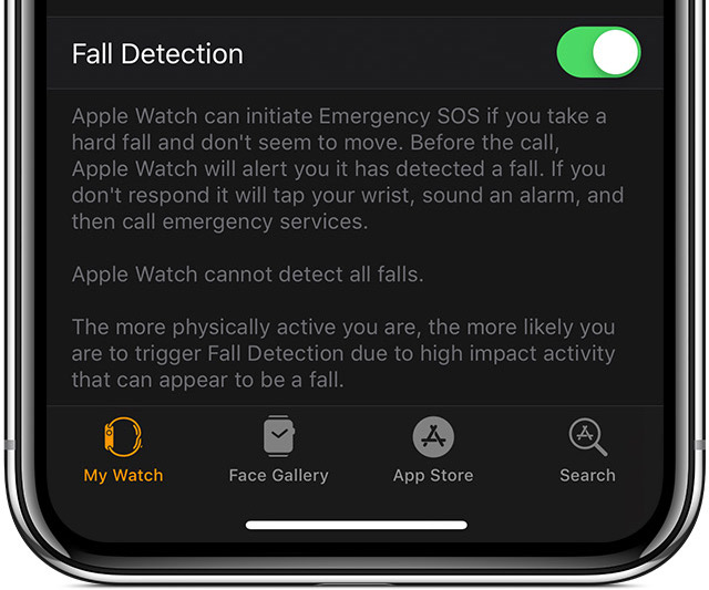 Apple Watch fall detection shown as manually enabled in the Watch app on iPhone