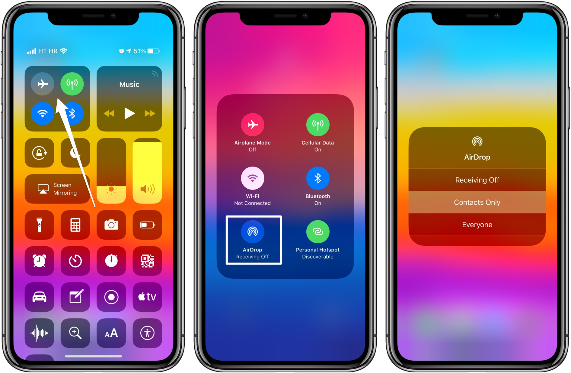 AirDrop visibility can be adjusted quickly using the network card in Control Center on iOS 12 and newer