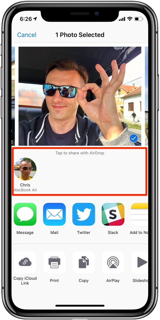 AirDrop sharing from Photos