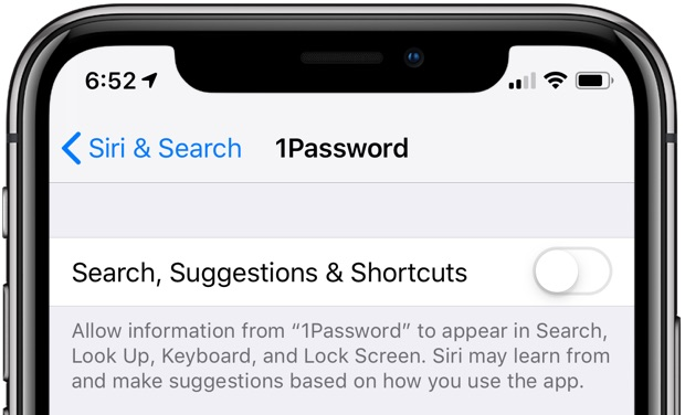 Siri suggestions - app-specific toggles showing search, Siri suggestions and shortcuts disabled for the 1Password app