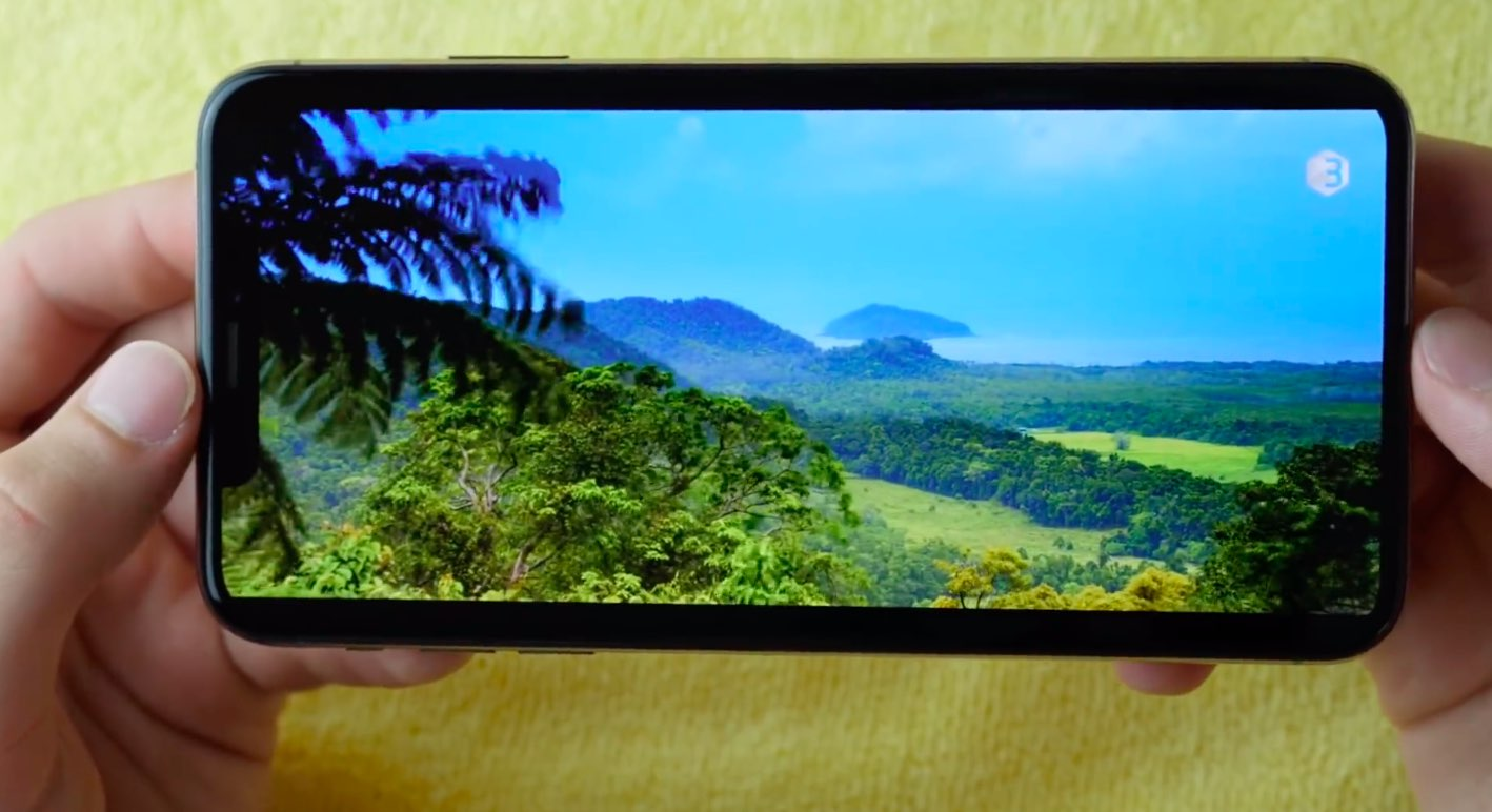 iPhone XS Max review - a photo showing HDR video playing in landscape mode