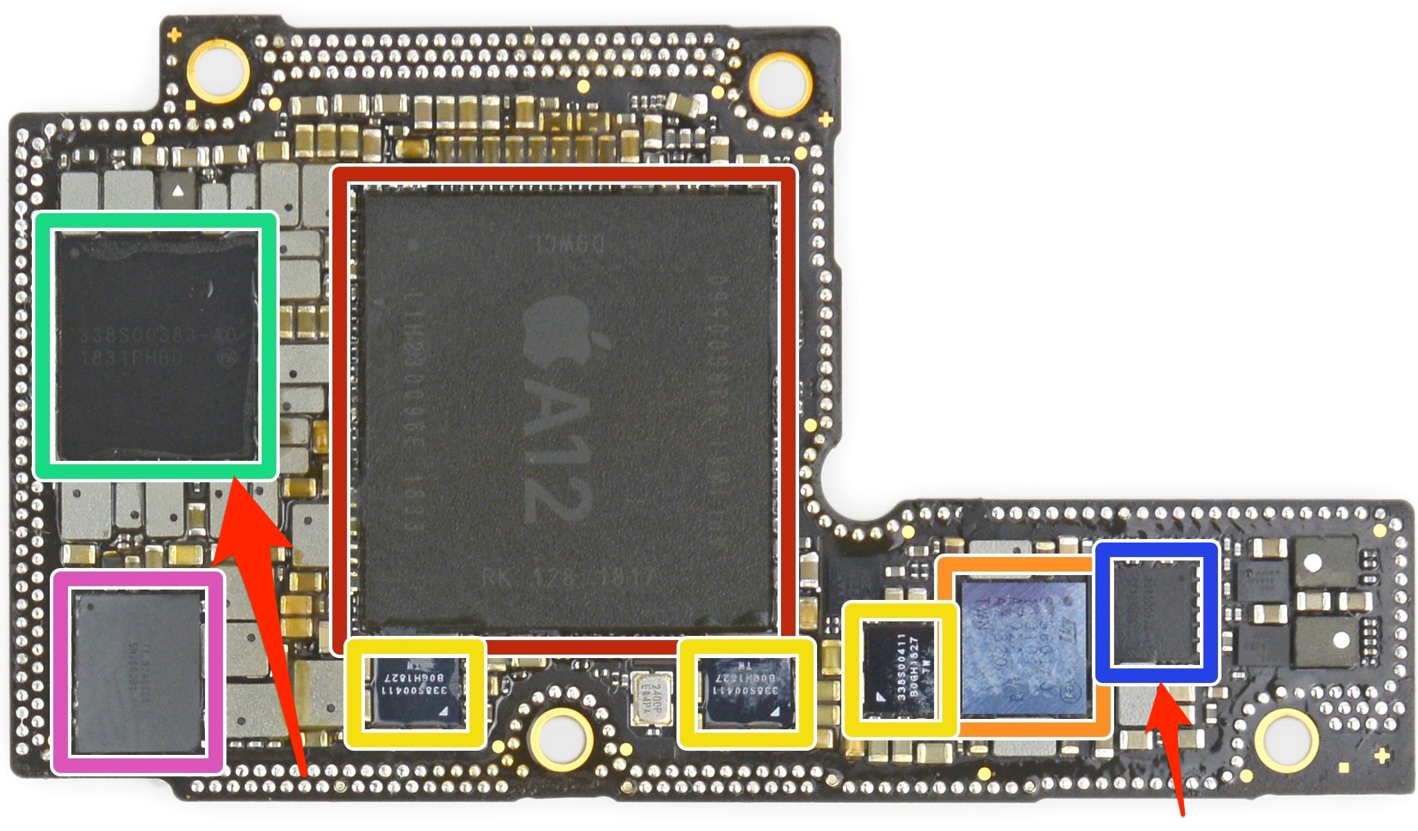 Apple Dialog deal - a teardown image showing the location of Dialog's power-management chips on the iPhone XS logic board