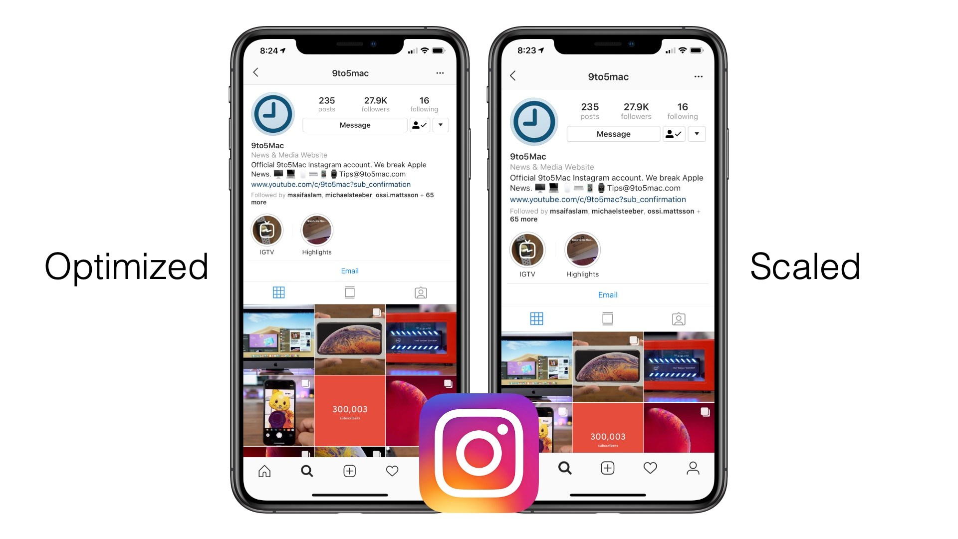 Instagram for iOS - optimized vs. scaled comparison
