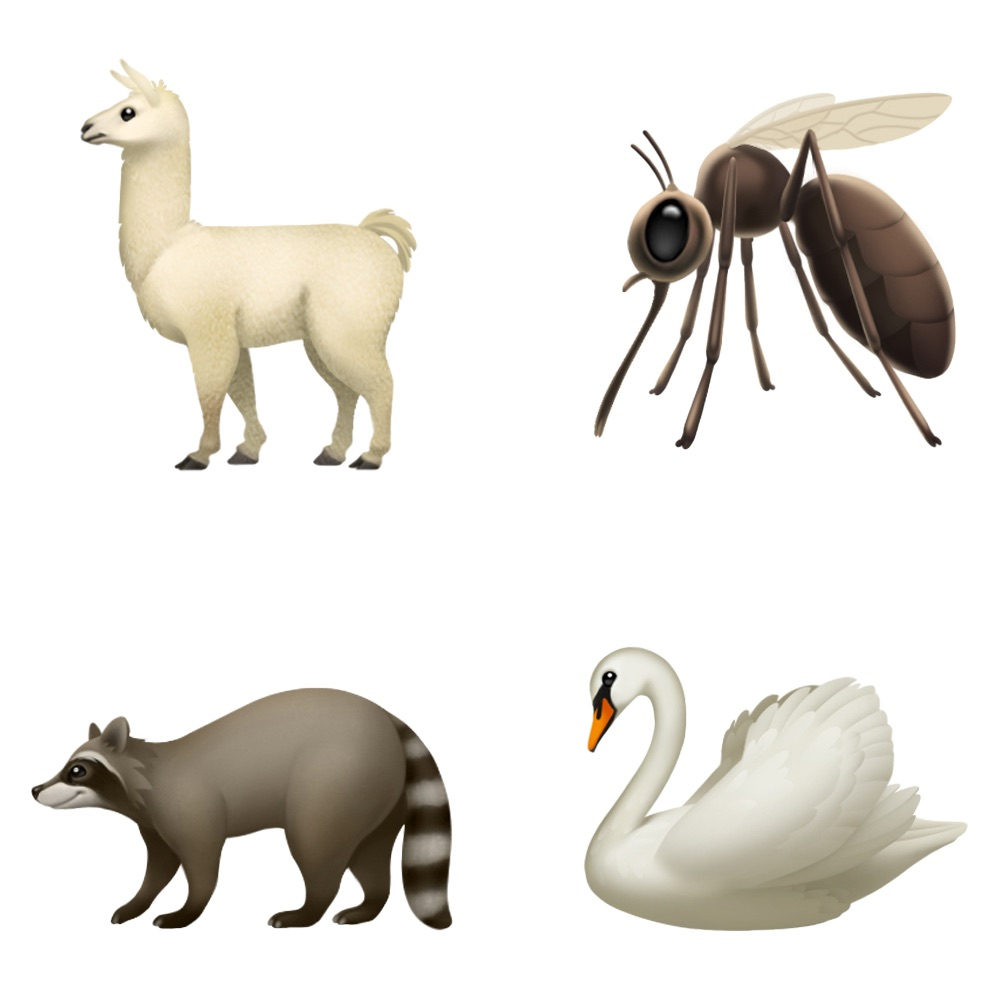 iPhone emoji llama, mosquito, swan and raccoon