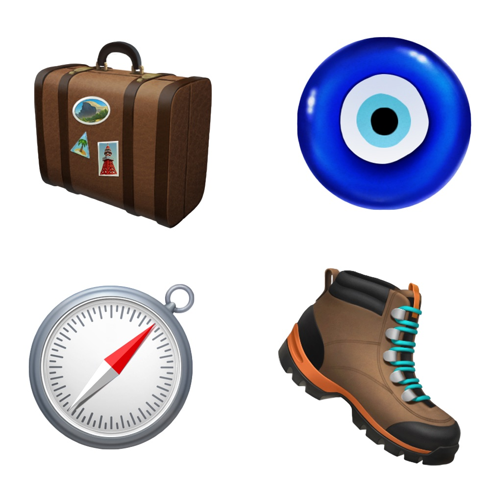 iPhone emoji luggage, boots and compass