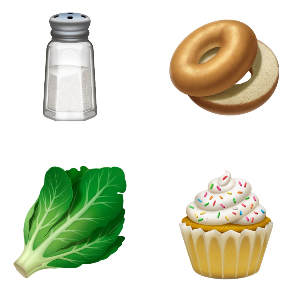 iPhone emoji salt, lettuce, bagel and cupcake
