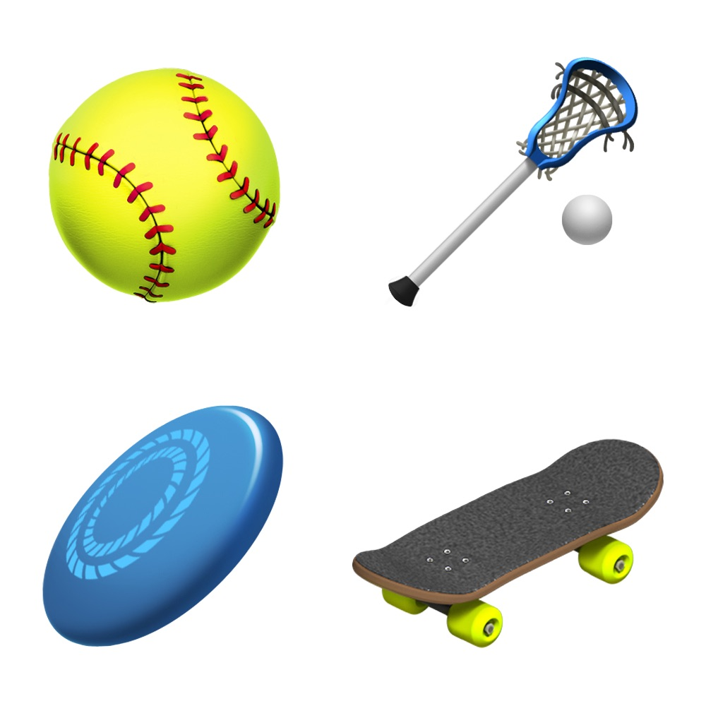 iPhone emoji softball, lacrosse, frizbee and skateboard