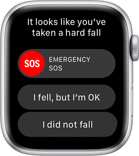 Apple Watch fall detection - a hard-fall alert shown on Series 4