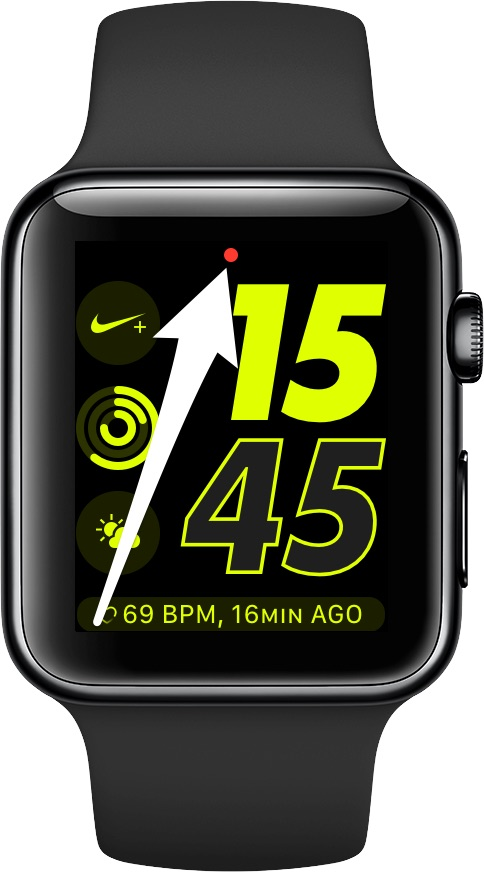 Apple Watch notifications - the red dot indicator at the top of the watch face