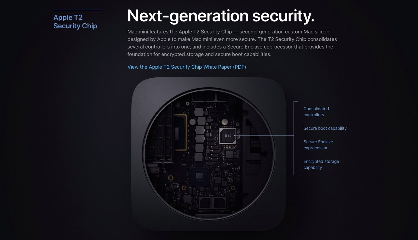 Mac models with Apple T2 security chip