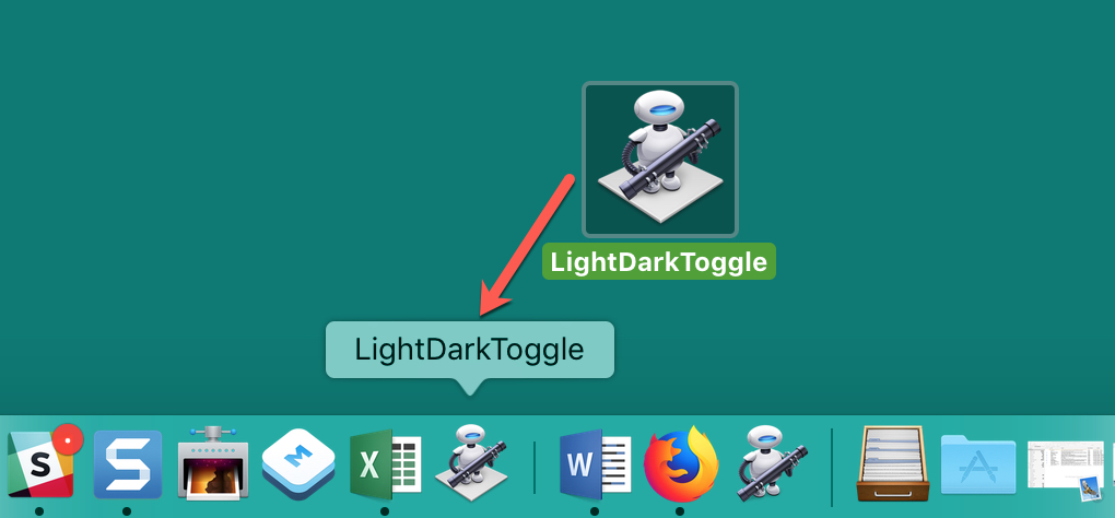 Automator Drag Toggle Switch to Dock