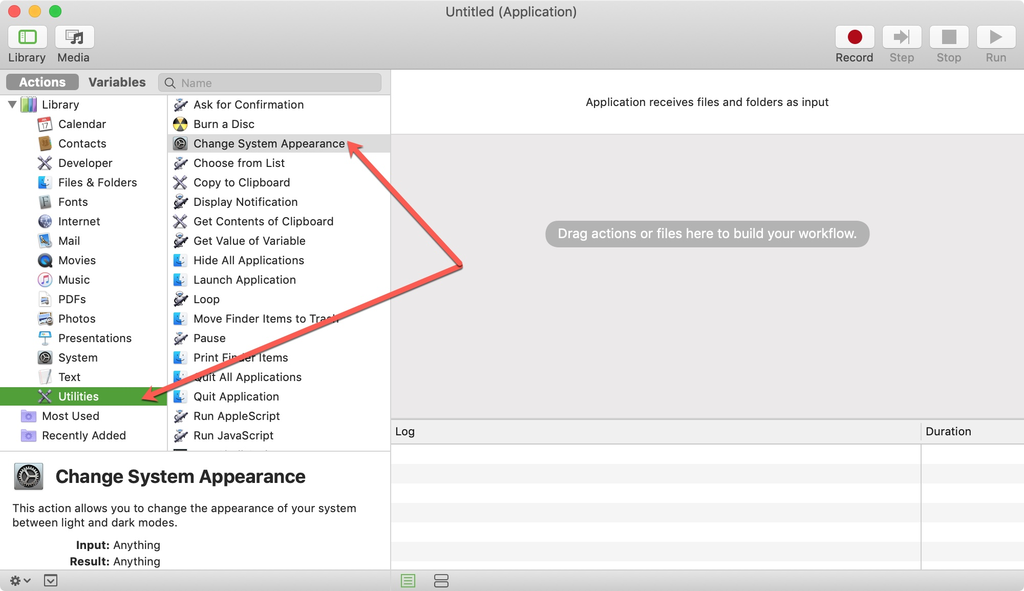Automator Utilities Change System Appearance