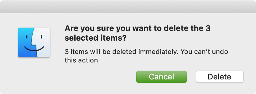 Confirm Delete Files on Mac Immediately