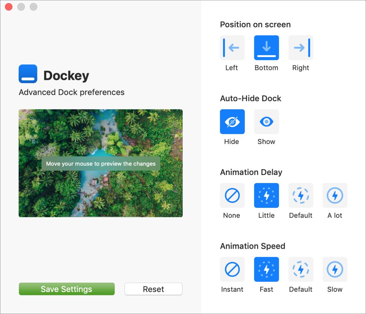 Dockey App Interface Mac