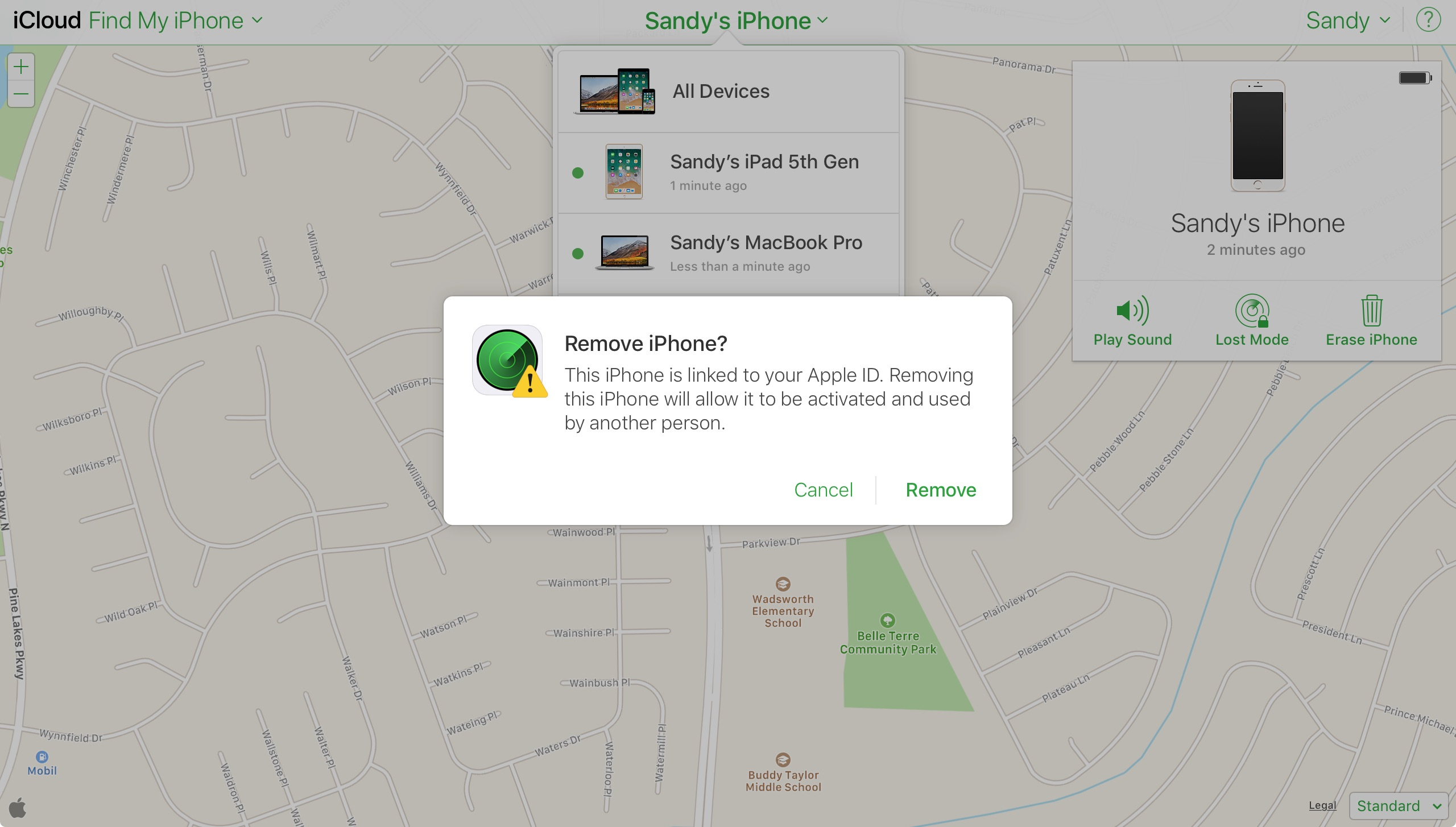 Find My iPhone on iCloudDotCom Confirm Removal