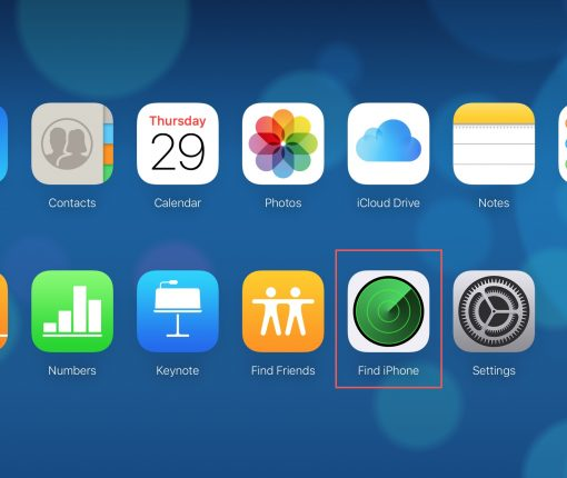 Find iPhone on iCloudDotCom Main Screen