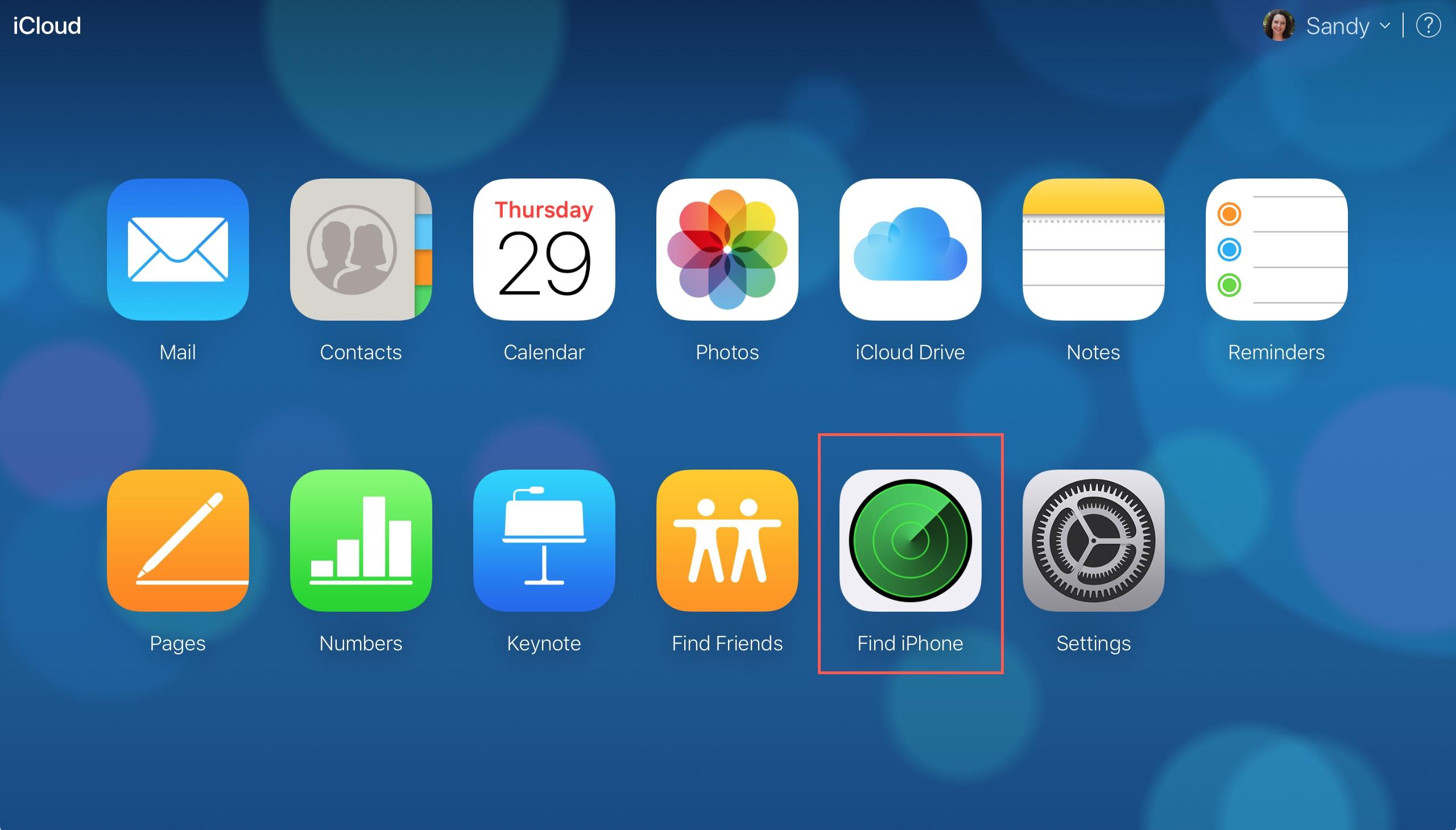 Find iPhone on iCloudDotCom Main Screen