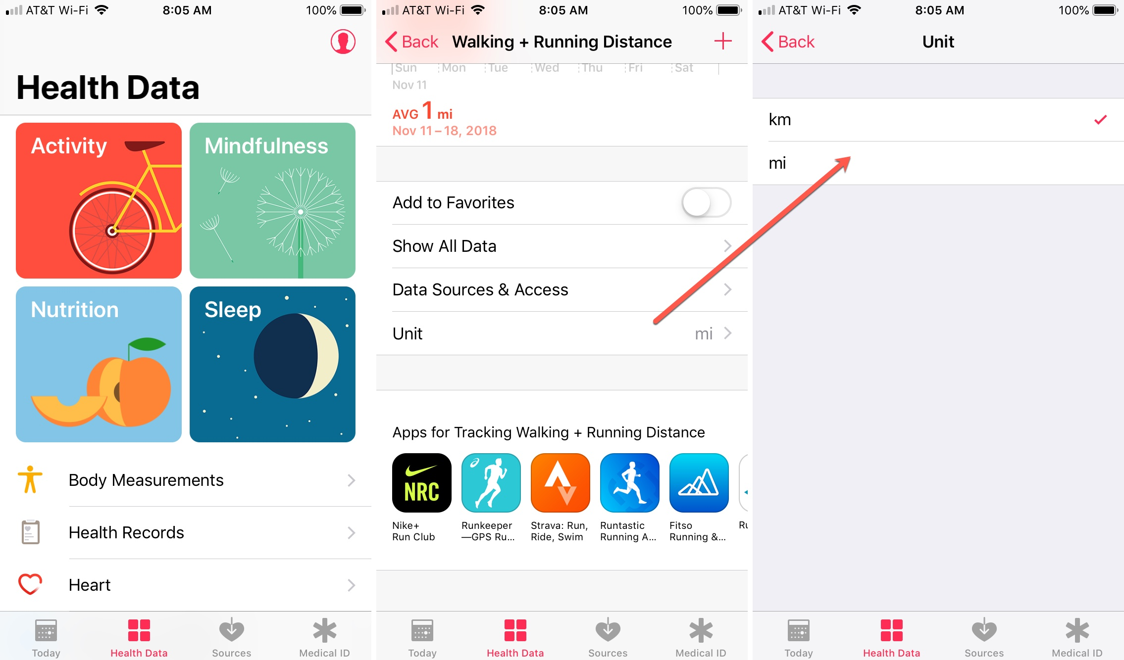 Health App Change Miles to Kilometers