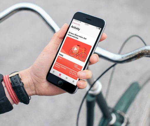 Health App on iPhone Riding Bike
